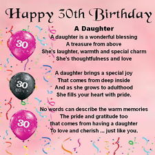 ... Magnet - Personalised - Daughter Poem - 30th Birthday + FREE GIFT BOX