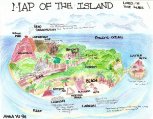 Map of The Island- Lord of The Flies; beach, book, english, Island ...