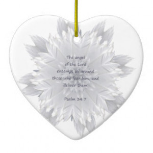 Angel Feathers Psalm 34:7 Inspiring Quote Double-Sided Heart Ceramic ...