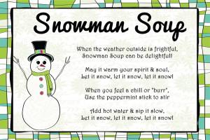 Snowman Soup Poem Card Snowman Poem