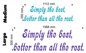 Simply The Best (Tina Turner) Lyric wall decal size chart