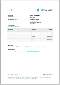 ... invoice, except it says quote at the top instead. Here's an example