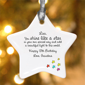 Personalized Star Christmas Ornament - Shine Like A Star Design - 4912