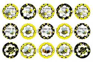 CUTE Bumble Bee digital image sheet for bottlecap, crafts ...