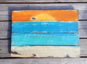 Sunset Painting, Beach Painting, Pallet Sign, Reclaimed Wood, Pallet ...