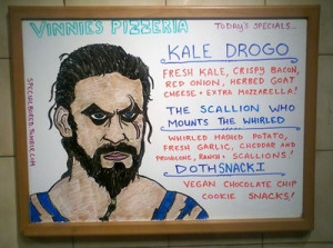 Kale Drogo pizza menu from Vinnies Pizzeria