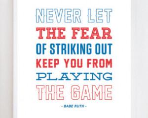 Babe Ruth Quote Baseball Wall Art P rint ...