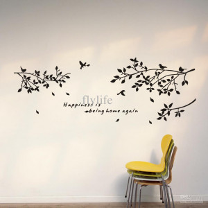 Home Again-Vinyl Quotes Wall Stickers and Black Tree Branch with Birds ...