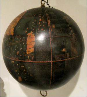 "Facsimile Behaim Globe showing the Indian Ocean and the ""Tiger Leg ..."