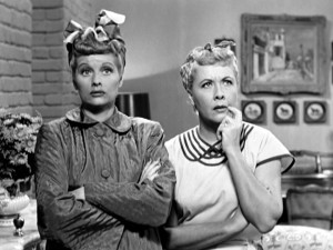 Lucy (Lucille Ball) and Ethel (Vivian Vance) rack their brains to ...