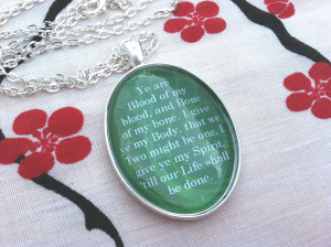 Outlander Inspired Blood of my blood Quote Necklace Diana Gabaldon