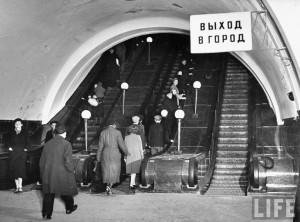 Margaret Bourke-White: Escalators in Metro subway taking commuters up ...