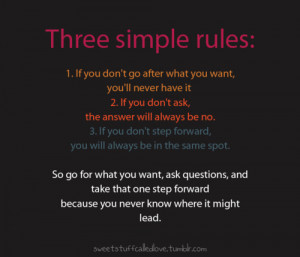 lessons, life, motivational, rules, text, three simple rules, words