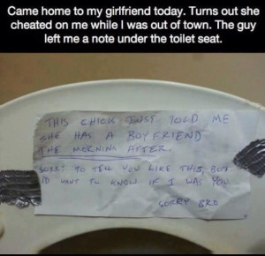 Cheating girl. Clever guy.
