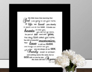 In Memory Of - Framed Quote Print, Printable wall art decor, digital ...
