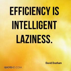 efficiency is intelligent laziness