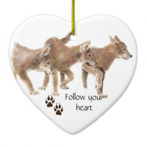 Cute Wolves Follow Your Heart Motivational Quote Double-Sided Heart ...