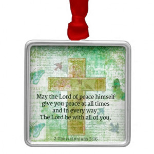 ... 16 Inspirational BIBLE quote Square Metal Christmas Ornament