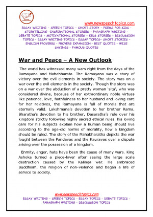 War and peace essay topics