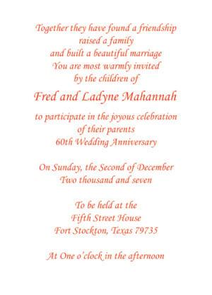 60th wedding anniversary party invitation style 1 sample f