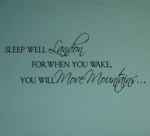 Sleep Well Move Mountains Name Wall Decal