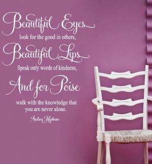 Audrey Hepburn- For Beautiful Eyes- Vinyl Lettering wall art words ...