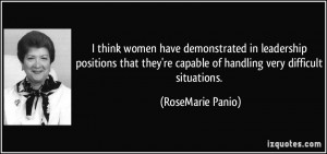 think women have demonstrated in leadership positions that they're ...