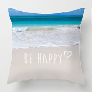 Details about Be Happy inspirational quote beach scene decor cushion