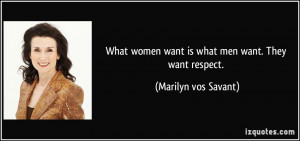 What women want is what men want. They want respect. - Marilyn vos ...