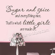 SUGAR AND SPICE Girls Wall Quote-sugar and spice wall words,girls wall ...