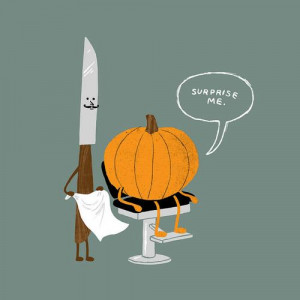 funny, hairdresser, halloween, knife, pumpkin, surprise, text