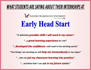 EWU Early Head Start Offers Valuable Student Internships!