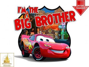 Lightning McQueen Cars I'm the Big Brother Tow mater T Shirt Iron On ...