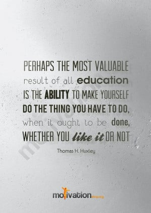 Thomas H. Huxley quote about discipline - Motivational print - In A2 ...