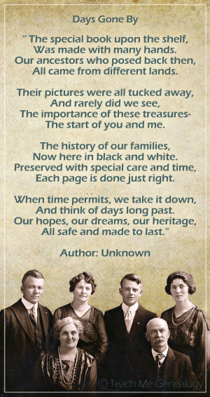 Days Gone By Poem about Family History