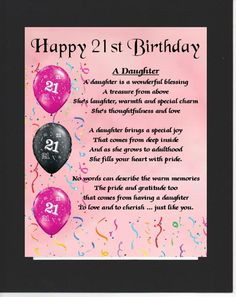 PERSONALISED DAUGHTER POEM – MOUNTED 21st BIRTHDAY DESIGN On offer ...