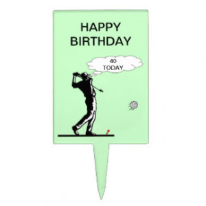 Happy 40th Birthday Golf Cake Topper