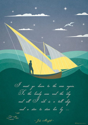 Art Deco Vintage Poster Print Illustration Sail... - Folksy