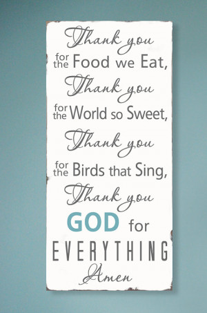 Thank you for the food we eat Blessing - Typography Word Art Sign