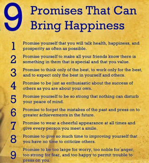 Nine Promises that can bring Happiness - Image