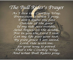 ... about THE BULL RIDER'S PRAYER PERSONALIZED PRINT ART POEM MEMORY GIFT