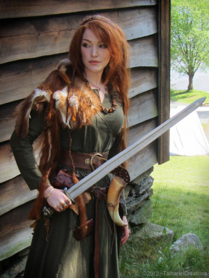 woman norway long hair costume Redhead sword ginger warrior viking ...