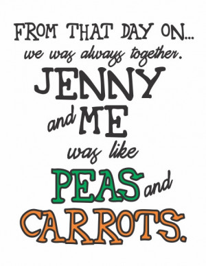 ... Carrots - black, green, orange - Forrest Gump quote - cute and