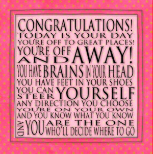 Congratulations Quote - Dr. Seuss 6x6 Word Art Print - Art Block ...