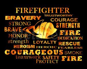 Firefighter Words art print