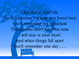 One Day In Your Life - Michael Jackson Song Lyric Quote in Text Image