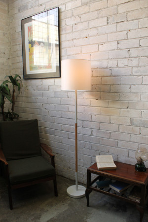 White Shade Floor Lamp. Fabric Shade. Timber Style detail. - Fat Shack ...