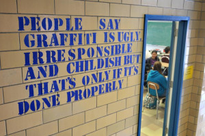 art teacher Jimmy Ilson's class have been stenciling messages - quotes ...