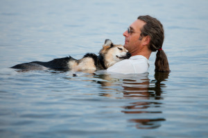 ... Tender Moment Between Man And His Sick Dog In Lake Superior (PHOTO