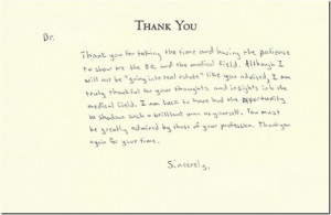 That's how to write a thank you note to make even a doctor blush ...